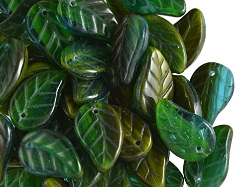 20pcs 9x14mm Leaves Pressed Glass Czech Beads, Dark Green-Olive (Leaf Pressed Beads)