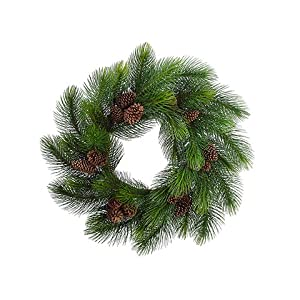 "44"" Long Needle Pine Wreath w/Cone Green (pack of 1) 28"