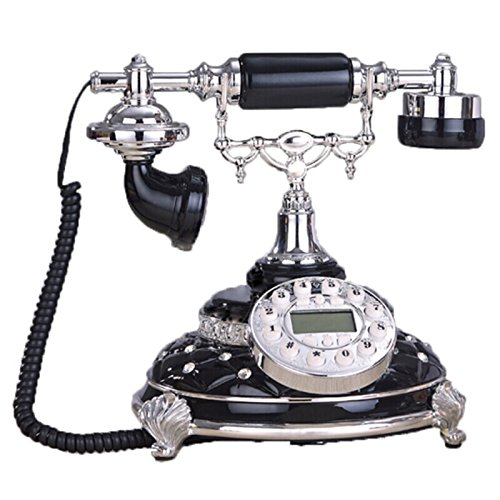 RWMDSY 本社ロータリーダイヤル電話固定回線、ホームデコレーション電話、有線電話、25×24×24cm (色 : 黒)  黒 B07MJTMQGW