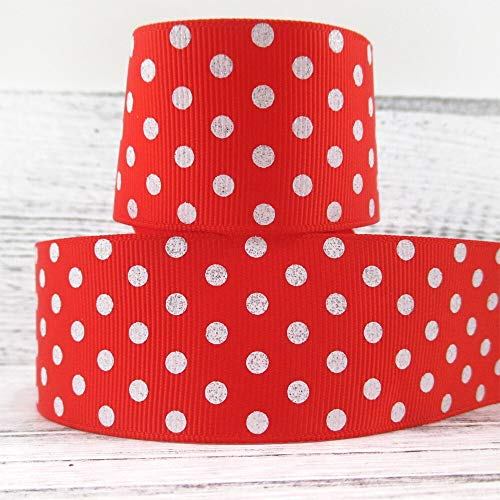 DOTHR-Best-Service - 1.5'' 38mm glitter dot printed polyester ribbon 50 yards,DIY handmade materials,wedding gift wrap