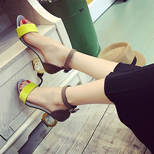 KHSKX-Female High-Heeled Sandals With A Belt Shaped Thick Toe Shoes All-Match Zichao Thirty-seven RwFWQZnoP1