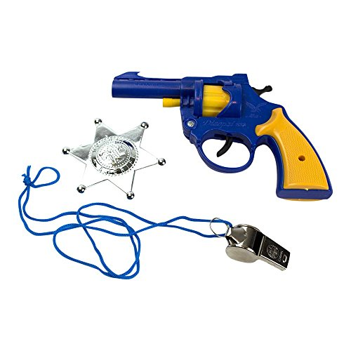 3-Piece Toy 38 Pistol Bundle Includes 1 Police Style Revolver Blue with Yellow Handle Cap Gun and 1 Whistle and 1 Chrome Finished Badge for Dress-Up and Costume Accessories by Imprints Plus (G8) (Handle Revolver)