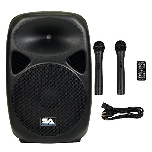 Seismic Audio - RSG-15 - Powered 15'' PA Speaker Rechargeable with 2 Wireless Mics, Remote, Bluetooth, & Easy Transport - Tailgate Karaoke Speaker by Seismic Audio