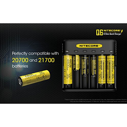 NITECORE Q6 Six Slot 2A Universal Li-ion/IMR Battery Charger for 18650,16340, RCR123A, 14500, 18350 with 2X IMR 3100mAH Rechargeable Batteries and LumenTac Organizer by Nitecore (Image #6)