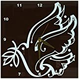 Cheap 3dRose LLC Sweet Dove of Peace Brown and Blue 10 by 10-Inch Wall Clock