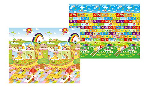 - MyLine Baby Play Mat, Foam Floor Gym Rug, Non-Toxic, Non-Slip, Reversible, Waterproof, Great for Children, Toddler and infant, Super Large 78.7''x70.9'',Extra Thick, Bear Day/Train ABC