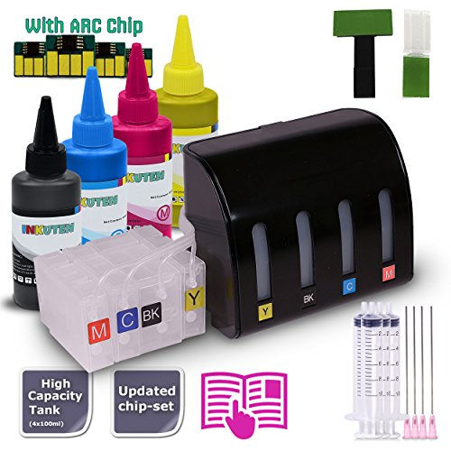 Pigmented Yellow Ink Tank - INKUTEN CISS Continuous Ink Supply System For PGI-1200/XL with 4x100ml TRUE-COLOR PIGMENT Ink Bottle Set - Compatible with Maxify MB2020, Maxify MB2120, Maxify MB2320, Maxify MB2720 Printers