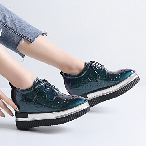 Platform up Lace Shoes Inner High Casual Patent Shoes Leather Shoes Pq4U5wF