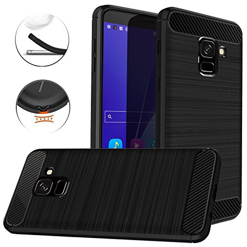 Dretal Galaxy J6 2018 Case, Carbon Fiber Shock Resistant Brushed Texture Soft TPU Phone case Anti-Fingerprint Flexible Full-Body Protective Cover for Samsung Galaxy J6 2018 (Black)