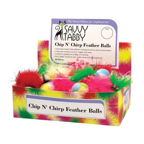 Savvy Tabby Chip N Chirp Feather Ball Display, My Pet Supplies