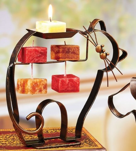 Metal Candle on a Rope Holder - Cat Design - Includes One Candle on a (Whisker Cat Perch)