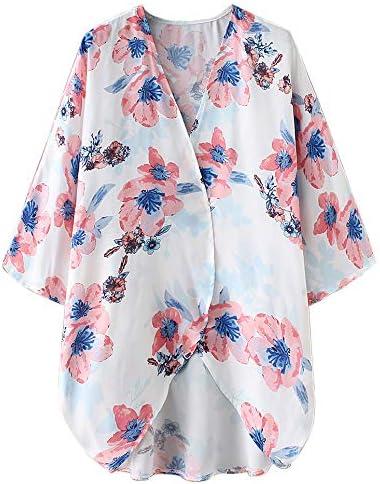 Zexxxy Copri Spiaggia Floreale Donna Top in Chiffon Estivo con Maniche a 3//4 a Maniche Corte in Kimono