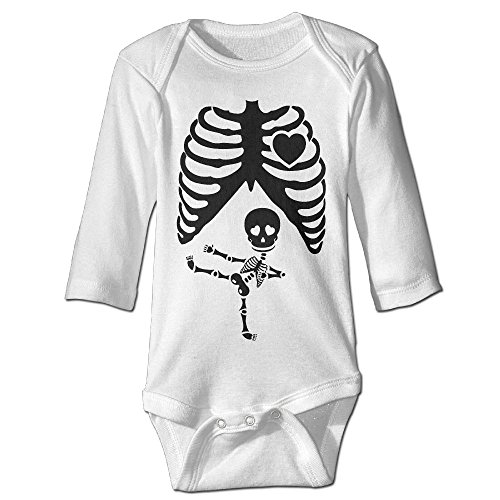 Halloween Pregnant Skeleton Ninja Baby Long Sleeves Climbing Clothes Unisex Romper Jumpsuit Size 6 M White (Hockey Masker Halloween)