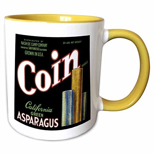 Asparagus Label - 3dRose BLN Vintage Fruit and Vegetable Crate Labels - Vintage Coin California Green Asparagus Crate Label - 15oz Two-Tone Yellow Mug (mug_129863_13)