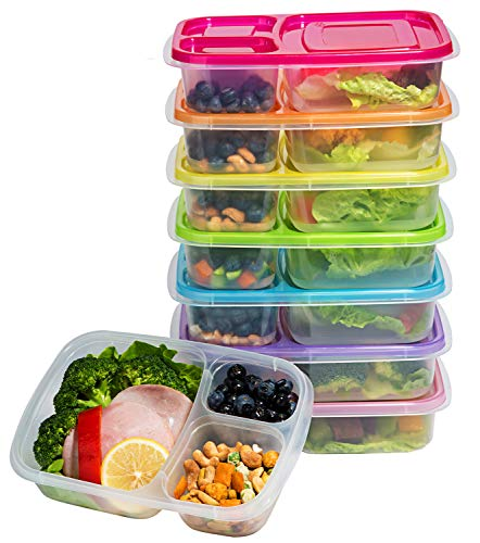 7 Pack Bento Lunch Box Containers-Meal Prep Containers-2 Compartment Snack Box-Microwave,Dishwasher Safe,Reusable Food Containers