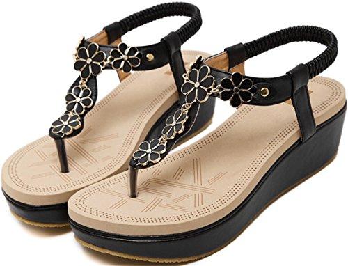 T Flip Black Women's Wedge Thong PPXID Slingback Sandals Strap Strap Platform Flop Ankle qTEwa