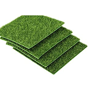 "I-MART 6""X6"" Fake Grass for Dollhouse Miniatures Garden, Artificial Grass for Crafts Decoration, Mini House Sum Lawn Ornaments 36"