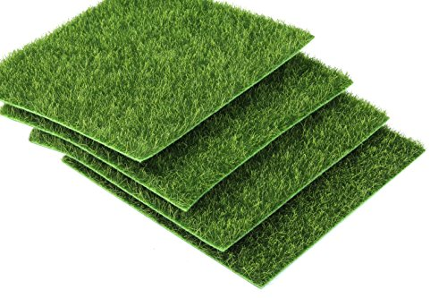 I-MART 6X6 inches Fake Grass for Dollhouse Miniatures Garden, Artificial Grass for Crafts Decoration, Mini House Sum Lawn Ornaments (Pack of 4)