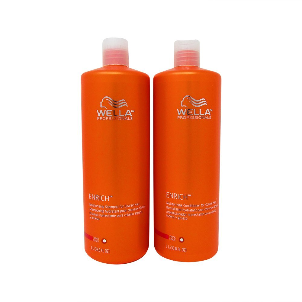 Wella Enrich Shampoo & Conditioner Coarse Hair, Liter Duo 33.8 Oz