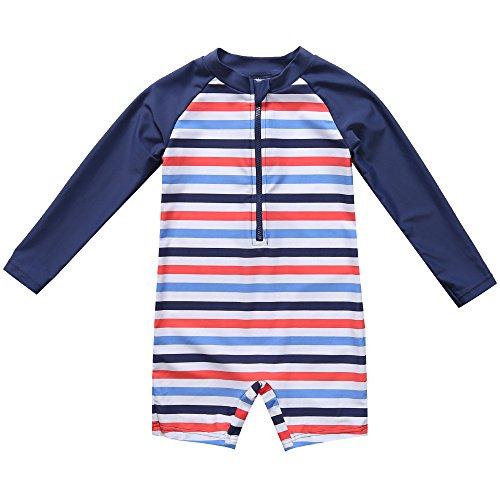 CharmLeaks Baby Boys Rash Guard Bathing Suit one Piece uv Rashguard Suites UPF 50 Striped,Navy-stripe,6-12 Months -
