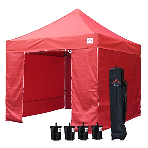 UNIQUECANOPY Enhanced 10×10 Ez Pop up Canopy Instant Tent Outdoor Party Portable Folded Commercial shelter, with 4 x Side Walls, Wheeled Carrying Bag and Bonus 4 x Sand Bags Red Review