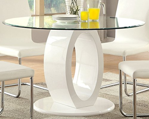 Furniture of America Quezon Round Glass Top Pedestal Dining Table, White by Furniture of America