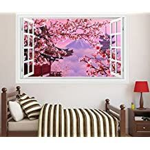 Skyllc® Pink Cherry Blossom Wall Sticker 3D Fake Window Style Wall Decals