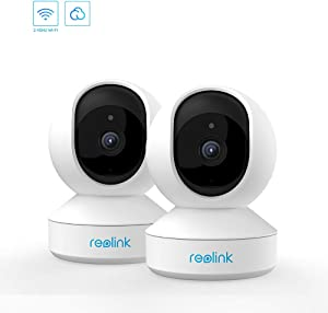 3MP Pan Tilt Indoor WiFi Security Camera System, 2.4Ghz WiFi Baby Monitor Home Camera with Night Vision, 2-Way Audio, Works with Google Assistant, E1(2 Pack)