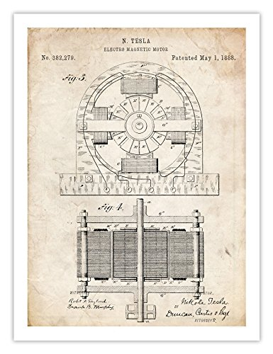 "TESLA Electric Motor 1888 Patent Art Print Inventor Genius Elon Musk Model S Car Reproduction Nicola (5"" x 7"")"