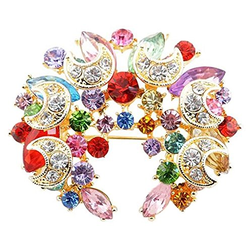 LOCOMO Fancy Cyrstal Rhinestone Round Brooch Pin Flower Floral Blossom Wreath Wedding JBH001MUL Round Wreath Pin
