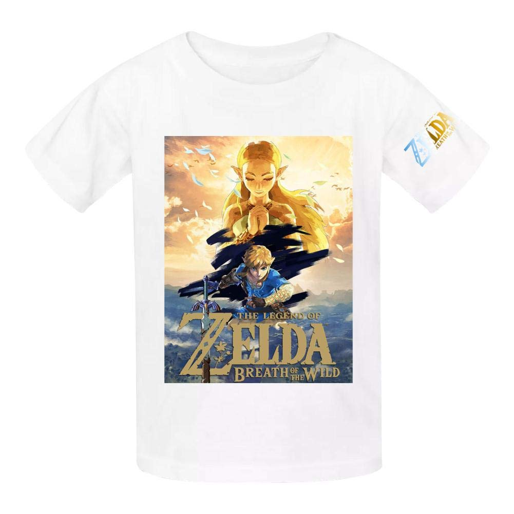 KAIvvv-47 Youths Zelda Princess and Link 3D Printing T-Shirts Short Sleeve Cotton Tops Tees
