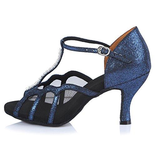 Hroyl Mujer Af45326 Cuero Azul Oscuro / Zapatos De Salón De Baile Latino En Malla 9 B (m) Us