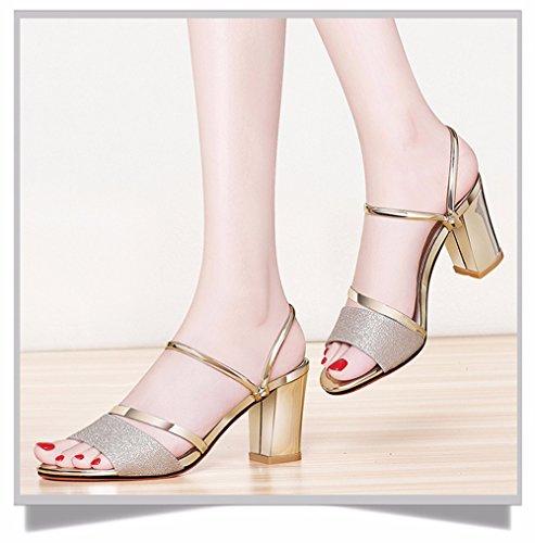No. 55 Shoes Pantofole Ladies Estate Moda Vestire e Raffreddare Trascinare Due Scarpe Tacco Alto Scarpe,US5.5/EU/36/UK3.5/CN35,Gold