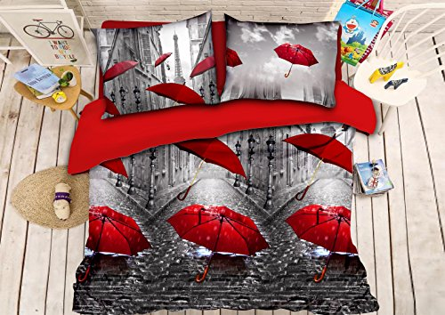 Luxurious 3D Bed Sheet Set Wild Life Animals,Flowers and Scenery Rainning Street, Red Umbrellas and Paris Eiffel Tower Print in Queen King Size (Queen, PARISLOVE-Y39)