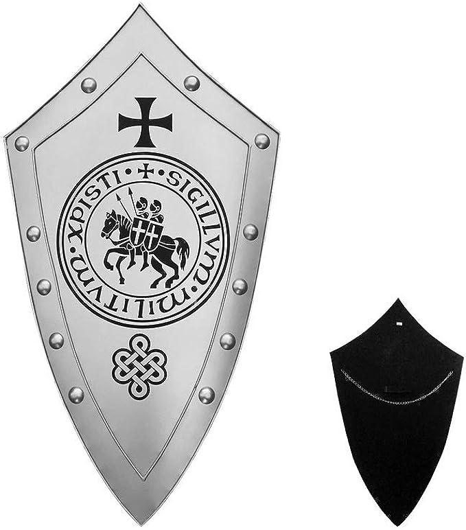 Medieval Templar with Engraved Design Crusader Shield~ X-Mas Medieval Warrior Knight Shield  ~  ~ Steel Battle Armor ~ Heater Shield Gift