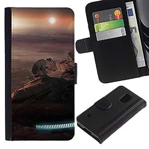 All Phone Most Case / Oferta Especial Cáscara Funda de cuero Monedero Cubierta de proteccion Caso / Wallet Case for Samsung Galaxy S5 V SM-G900 // Millennium Falcon