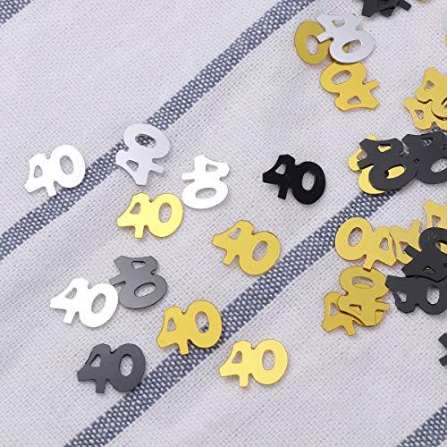 Amosfun 1200pcs 40 cumplea/ños Confeti de Mesa para 40 cumplea/ños Suministros de Decoraciones de Fiesta de Aniversario de Boda Plata