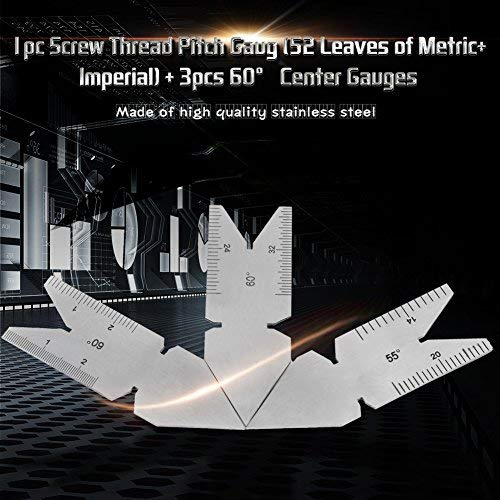 imperial 3pcs 60/°Center Gauges Tool Set Thread Plug Gage Measuring Tool Metric Stainless Steel Screw Thread Pitch Gauge of 52 Leaves