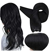 Full Shine Weft Bundle Extensions 18 Inch Weft Hair Extensions Real Human Hair Color 1 Jet Black ...