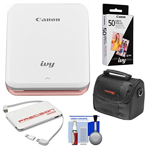 Canon Ivy Wireless Bluetooth Mini Photo Printer (Rose Gold) with 50 Zink Photo Paper Pack + Case + Charger + Kit (Canon Photo Printer For Iphone)