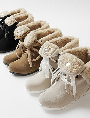 Femme à Bout décontracté Bottes compensé Rond pour Talon beige compensées Chaussures Chaussons Polaire pour Citior Bottes Chaussons Femme en YHFHZ6