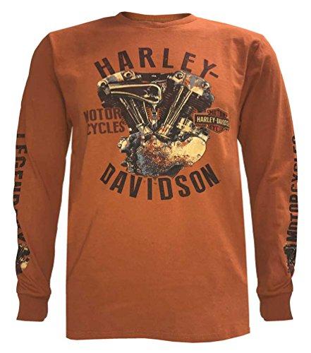 Harley-Davidson Men's Rusted Corrosion Long Sleeve Shirt, Orange 5L36-HF5K (M) ()