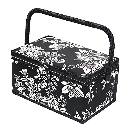 (D&D Vintage Sewing Basket Kit, Sewing Box Organizer with Sewing Accessories, Black/White)