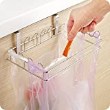 LANGUGU Stainless Steel Trash Rack Garbage Bag Holder Door Back Type Multi-functional for Kitchen Hook Hang Dishcloth, Mounts Over Cabinet Doors Cupboards Frame
