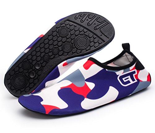 Giotto Wassersport Barefoot Aerobic Schuhe Leichte Quick-Dry Aqua Socken für Beach Pool Swim Yoga P2-dunkelblau