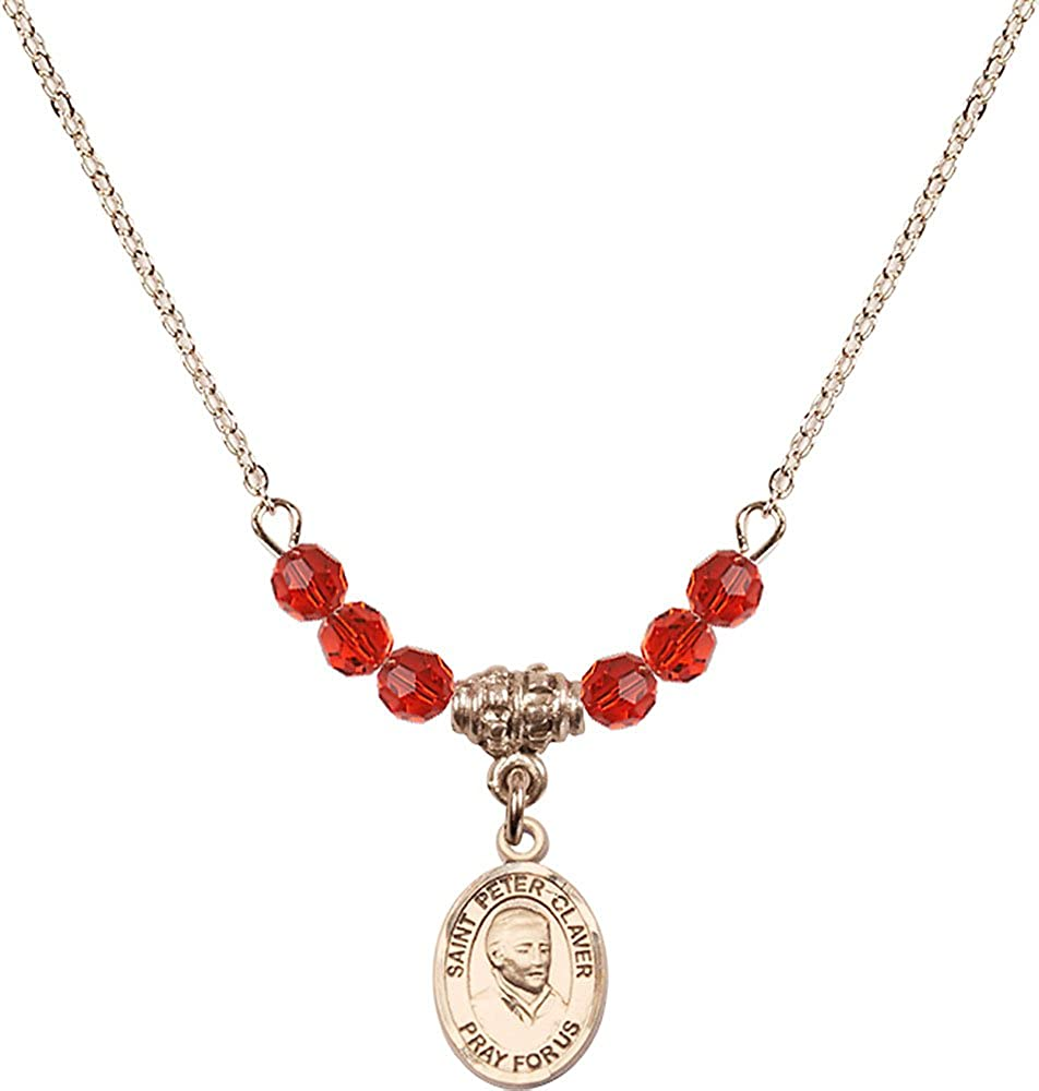 18-Inch Hamilton Gold Plated Necklace with 4mm Ruby Birthstone Beads and Gold Filled Saint Peter Claver Charm.