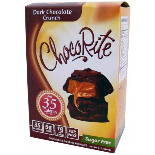 CHOCORITE CHOCOLATE VALUE PACK -6 24 GRAM BARS-SUGAR FREE-35 CALORIES PER PIECE (DARK CHOCOLATE CRUNCH)