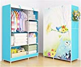 HomeTown Market Portable Cloth Closet, Wardrobe Or Storage (170cm X 105cm X 45cm). A Nice Cloth Organizer Or Cabinet for Man, Woman, Kid, Boy Or Girl (Flower Top Blind)