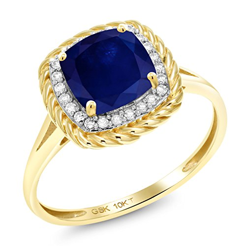 Gem Stone King 2.17 Ct Cushion Blue Sapphire White Diamond 10K Yellow Gold Ring (Size 9) 10k Yellow Gold Sapphire Ring
