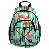ZippyRooz Toddler & Little Kids Extra Small Hiking Backpack for Boys Fun Woodsy Print with a Bear, Fox, Hedgehog, Rabbit & Trees (Woodland Creatures)